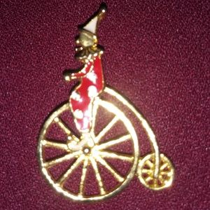 Vintage brooch Circus Clown on Unicycle